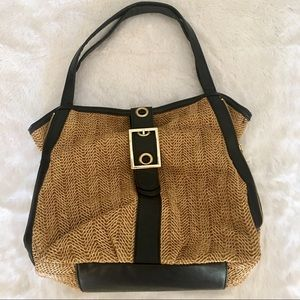 Olivia & Joy Brown Poly Straw Faux Leather Purse